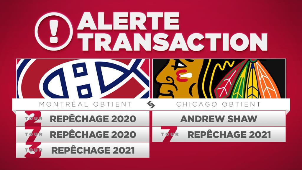 Les Canadiens Acquierent Trois Choix De Chicago En Retour D Andrew Shaw