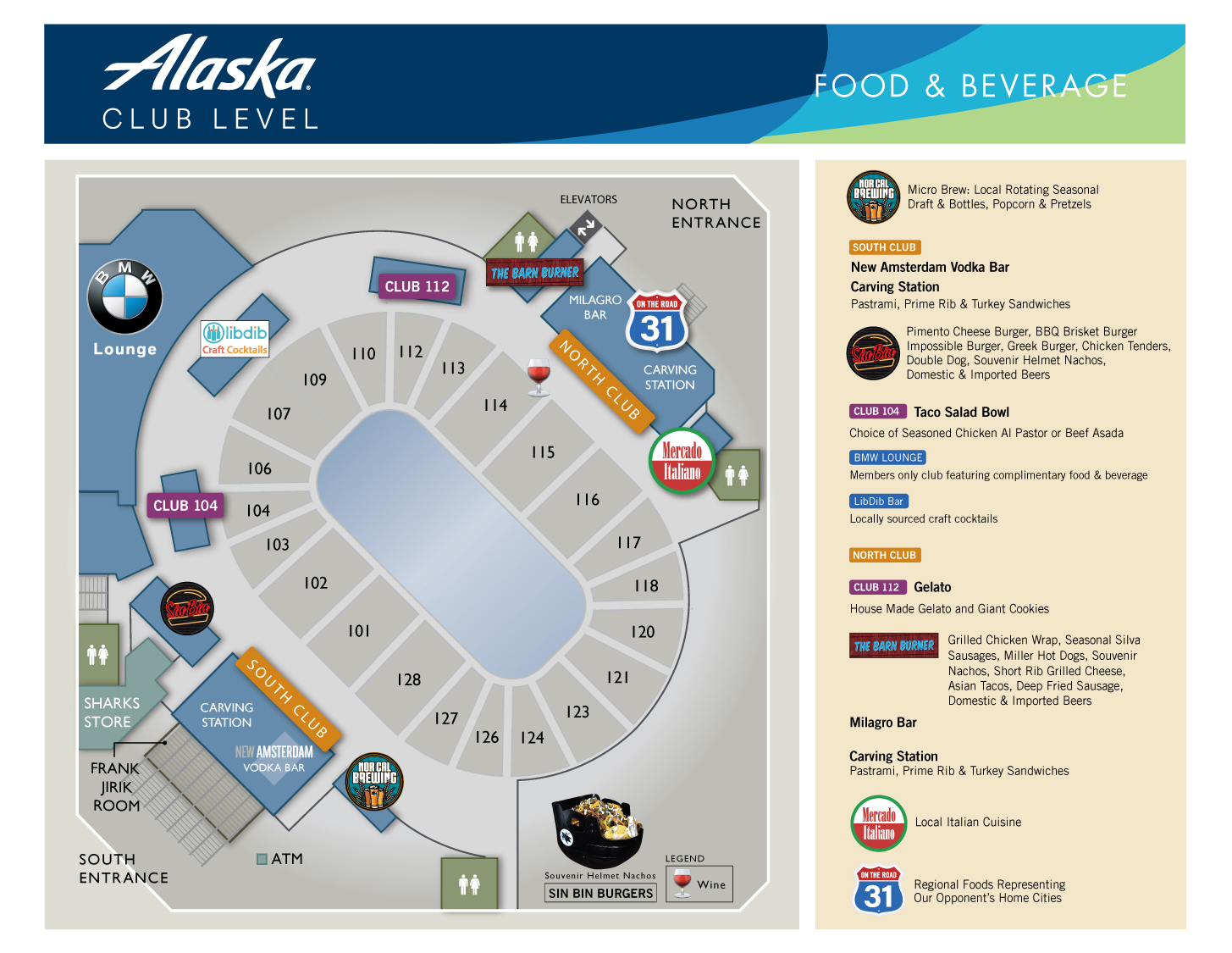 Club Food and Beverage Map