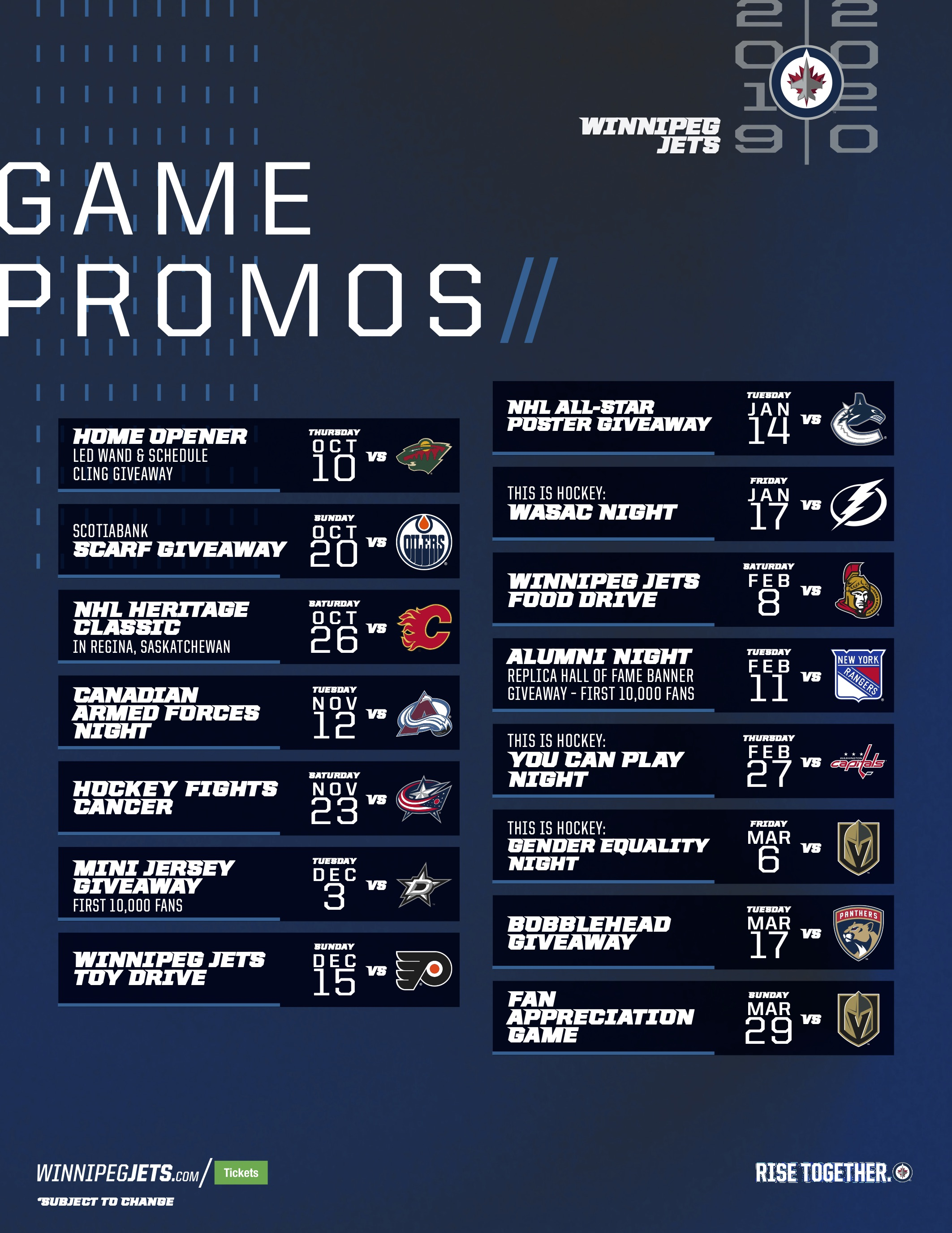 Winnipeg Jets Game Promo Schedule