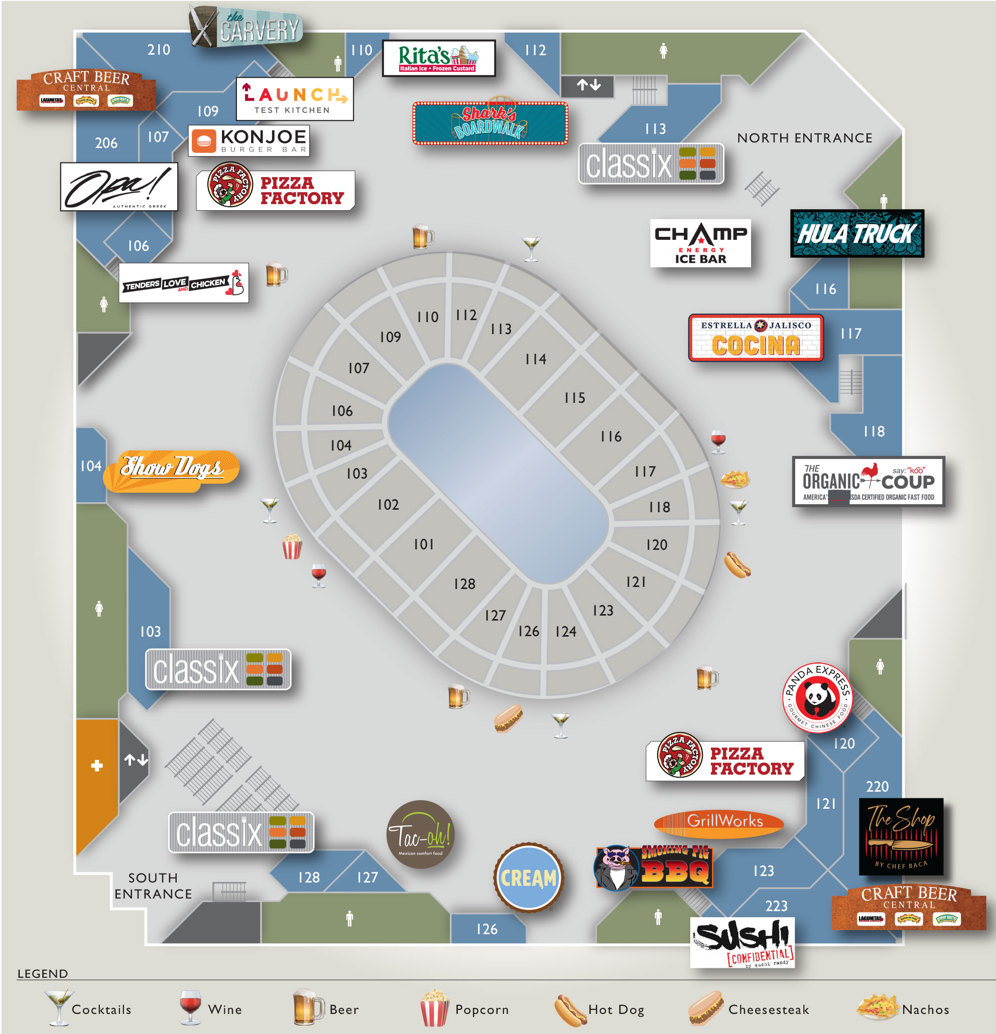 Concourse Food and Beverage Map