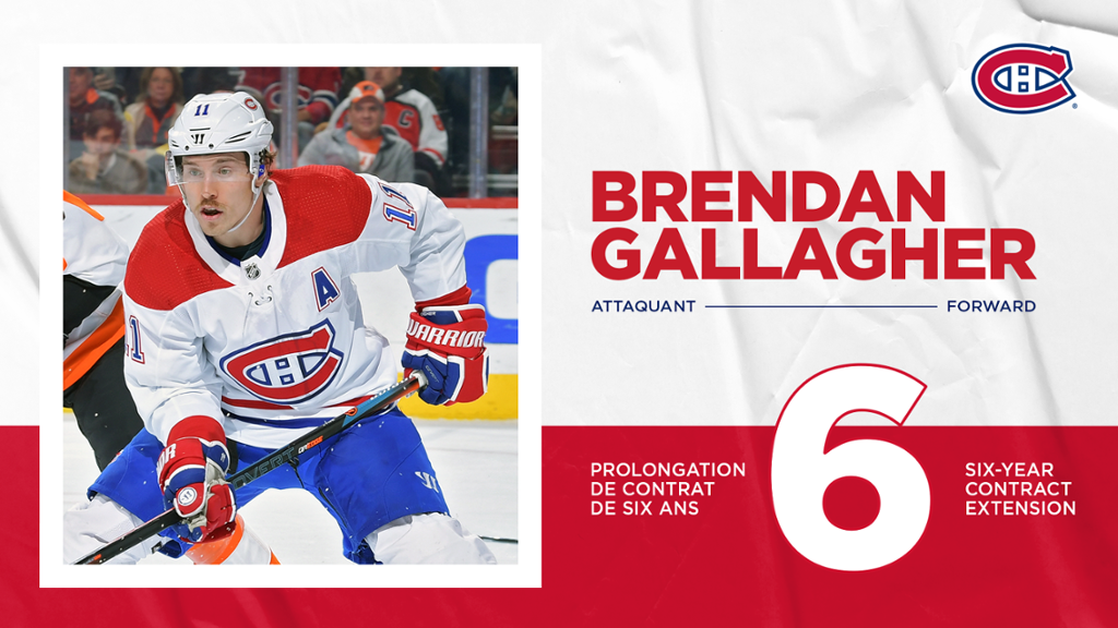 Montreal Canadiens sign Brendan Gallagher to six-year extension