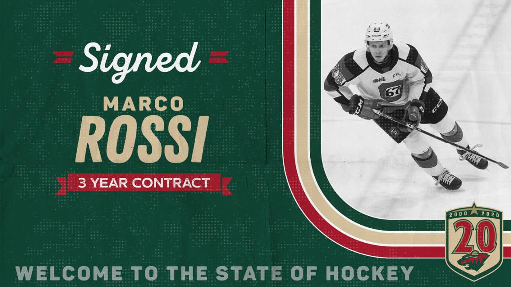 Wild signs forward Marco Rossi to a three-year, entry-level contract