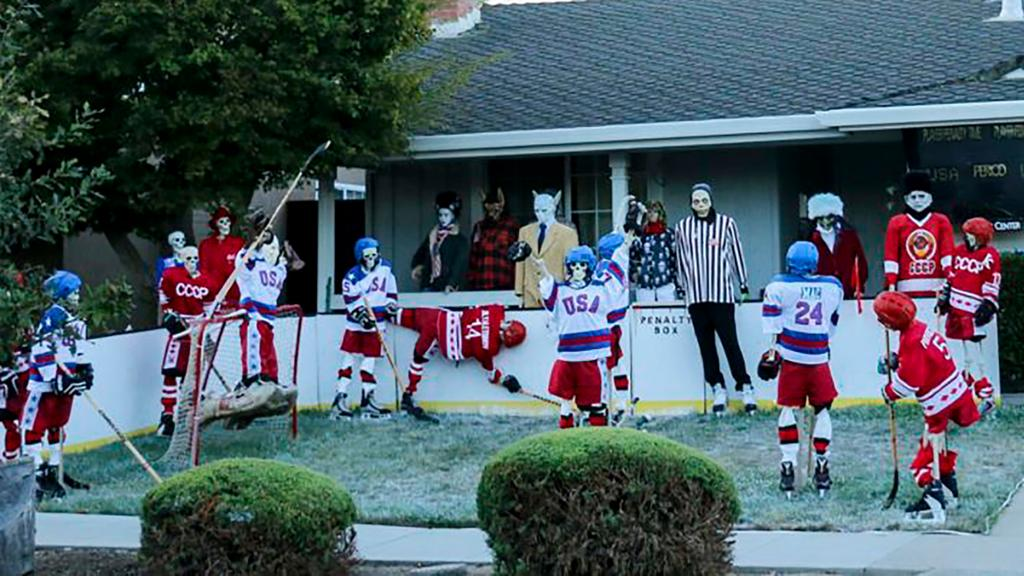 O'Learys Halloween Jersey City October 27, 2020 Miracle on Ice' scene recreated with skeletons for Halloween display