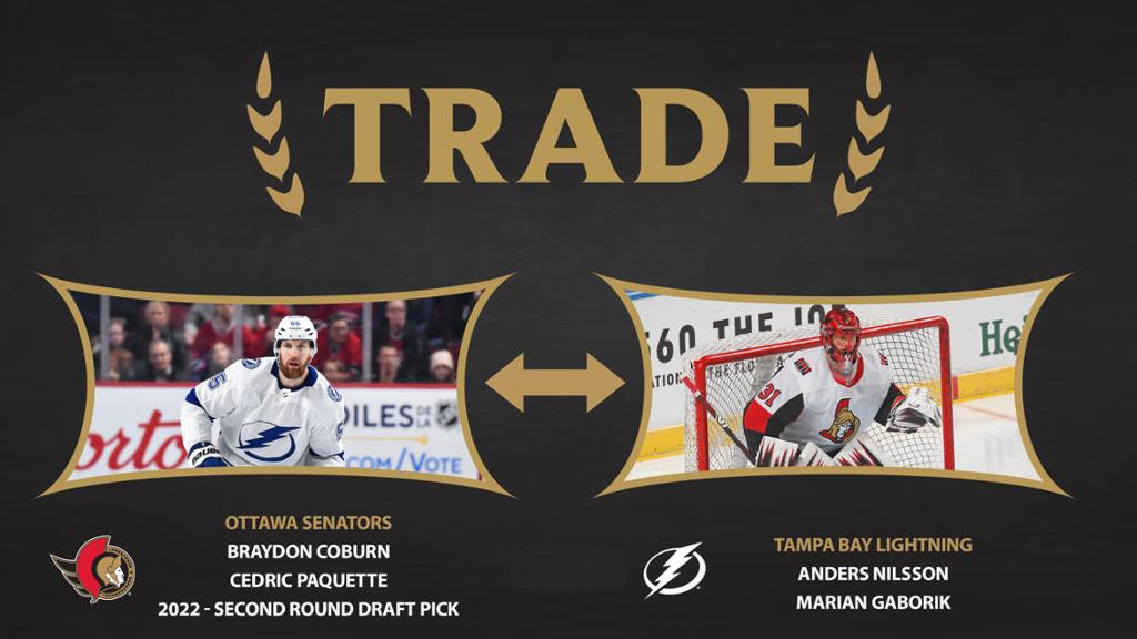 Lightning Trade Paquette & Coburn to Senators for Gaborik & Nilsson