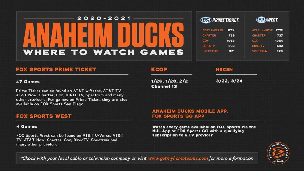 Ducks Announce 2020-21 Television Schedule