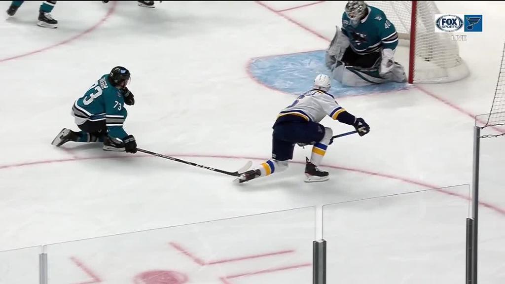 Scandella, Blues defeat Sharks in 13-goal game