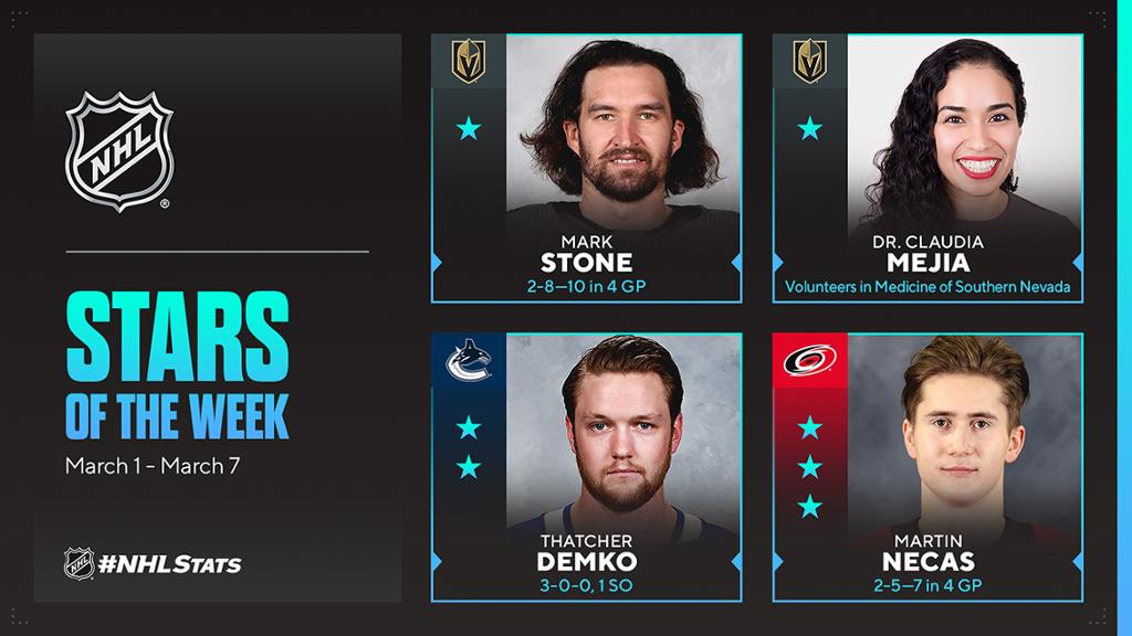 Stone of Golden Knights, Nevada doctor NHL First Stars of Week - NHL.com