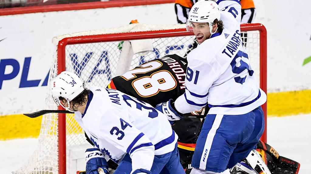 Matthews scores twice, Maple Leafs defeat Flames for fourth straight win
