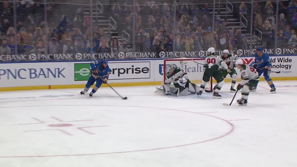 Hoffman scores twice, Blues defeat Wild in OT