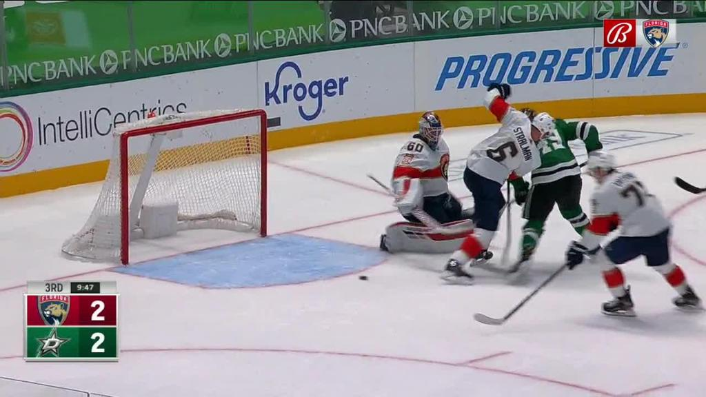 Driedger makes diving stick save that helps Panthers win game in OT