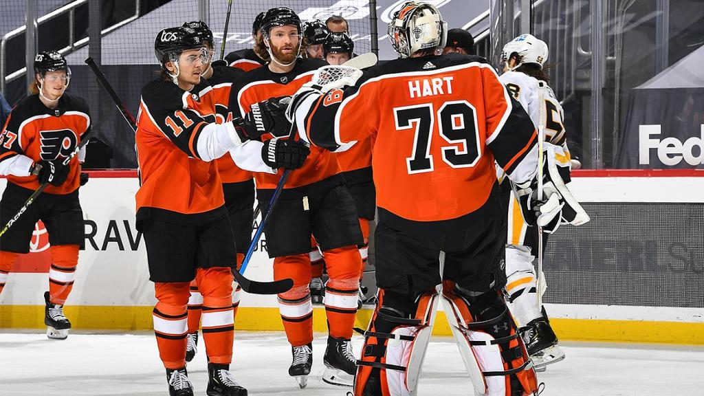 Hart makes 31 saves, Flyers defeat Penguins in shootout