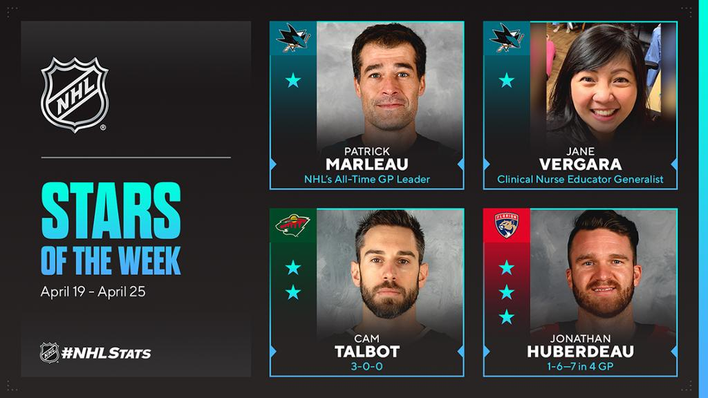 Marleau of Sharks, clinical nurse NHL First Stars of Week