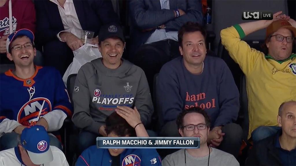 Fallon, Macchio, Jets, 'Bachelor' couple watch Islanders-Lightning Game 3