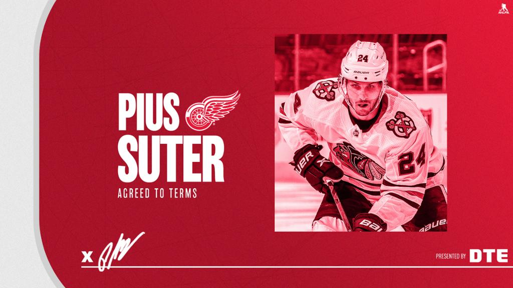 Red Wings agree to terms with center Pius Suter