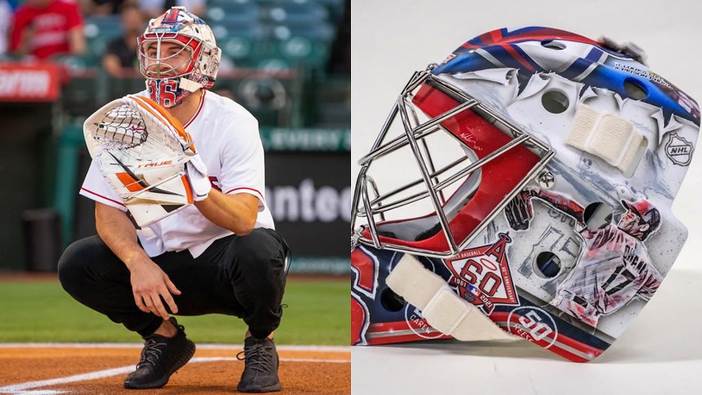 Gibson swaps Ducks mask for elaborate Angels helmet to catch first pitch