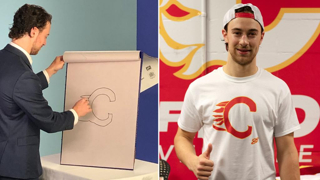 Mangiapane's really bad drawing of Flames logo now on T-shirt