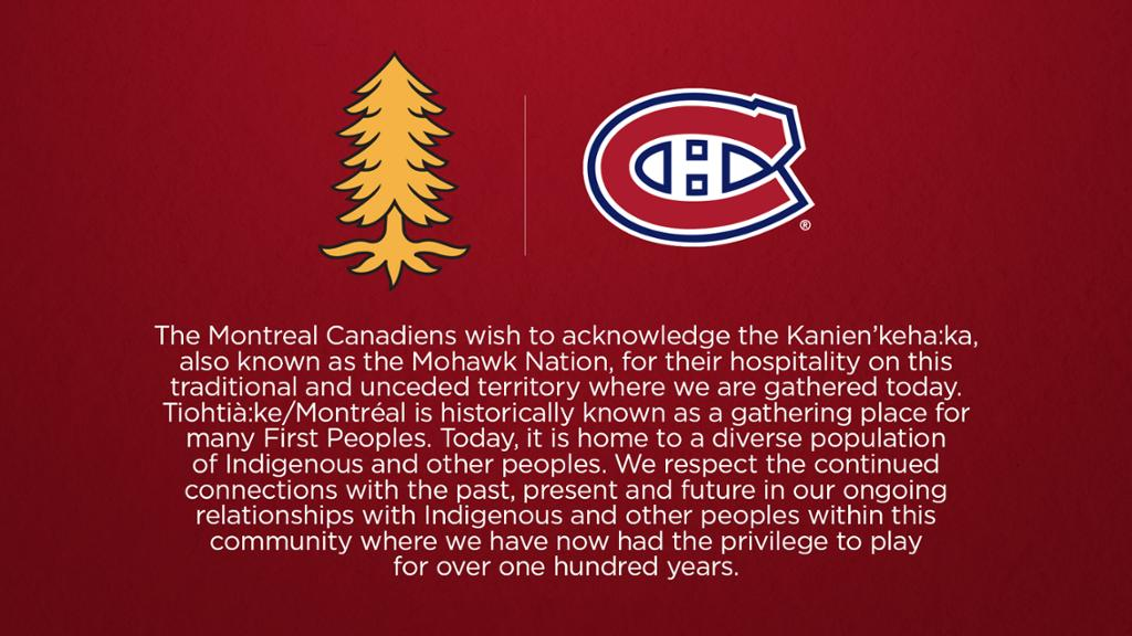 Canadiens to feature land acknowledgement at home games | NHL.com