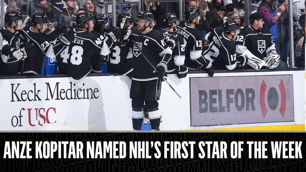 Anze Kopitar named NHL's First Star of the Week